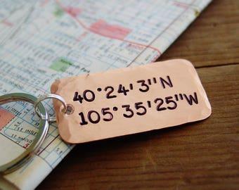 Longitude Latitude Keychain, GPS Coordinates Keychain, Copper,Anniversary Gift,7th Anniversary,Couple Keychains,Location,Husband Anniversary