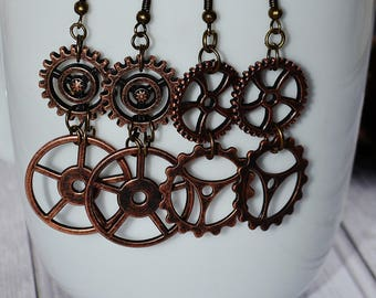 Steampunk Earrings, Earrings Handmade, Gears Cogs Watch Parts Earrings - Jewelry Gift For Her, Women's Gift - Birthday Gift For Best Friend