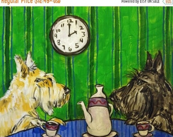 Scottish Terrier tea time at the Cafe Dog Art Print