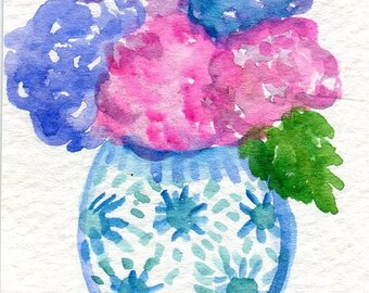 ACEO  Hydrangeas original watercolor painting,  Blue and White Vase, Small Flower Art Card, hydrangea art, SharonFosterArt