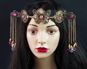 Bohemian Geisha Asian Chinese Headpiece Fantasy Headdress Tribal Belly Dance Dancewear Jewelry Elven Tiara Burning man Festivals