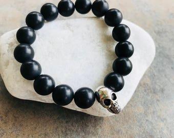 Men's Skull and Black Bead Stretch Bracelet
