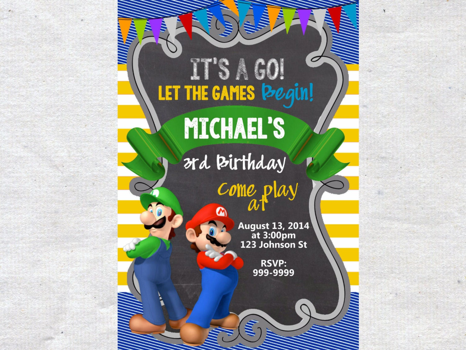 Super mario brothers birthday invitation chalkboard chevron zoom monicamarmolfo Gallery