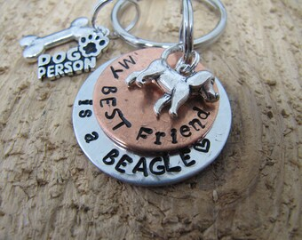 Beagle key chain, hand stamped Beagle key chain, Beagle jewelry, Beagle lover , Dog person key chain, My best friend is a beagle