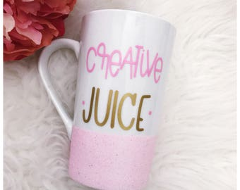 Creative Juice Glitter Dipped Coffee Mug - Mom Life - Creative - Glitter Mug - Glitter Cup - Glitter Dipped - Coffee Cup - Juice