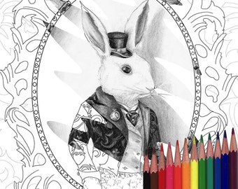 white rabbit coloring page alice in wonderland coloring page printable jpg bunny coloring page digi stamp adult coloring page