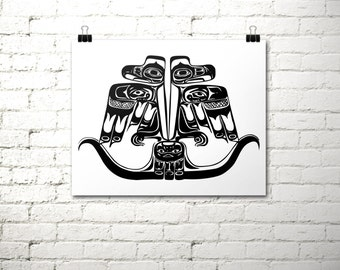 Thunderbird Print, Tribal Print, 16x20 INSTANT DOWNLOAD, Haida Indian, Printable Art, Native American, Black and White Print, Totem Pole Art