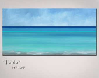 Abstract Art Painting, Beach Art, Abstract Seascape - Turquoise Blue & Sea Green - Large: 48x24, Original Ocean Painting
