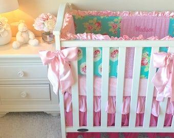 Lola Roses Baby Bedding, Flat Bumper Crib Bedding, Girl's Baby Bedding, Baby Pink Crib Bedding Sets, Crib Bedding for Girl, Baby Girl Crib