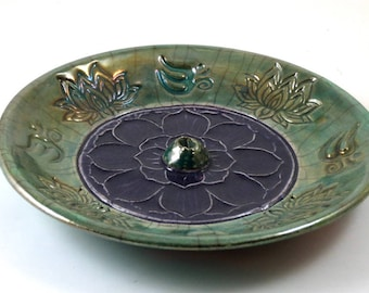 Lotus-Aum Incense Burner Handmade Raku Ceramic Pottery