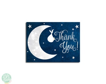 Moon Baby Shower Thank you - Instant Download - Moon Baby Shower Neutral