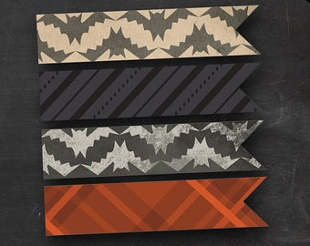DIY Halloween Straw Flags - Printable Parchment Chalkboard Bats Plaid and Stripes - Drink Flags, Cupcake Flags, Desert Flags Party Favors