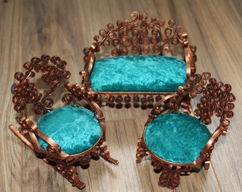 Aluminum Can Rolling or Metal Filigree (Similar to Paper Quilling) Set of 3 Doll Size Furniture Couch Chair Rocker