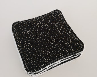 Washable black and gold printed cotton and Terry cloth