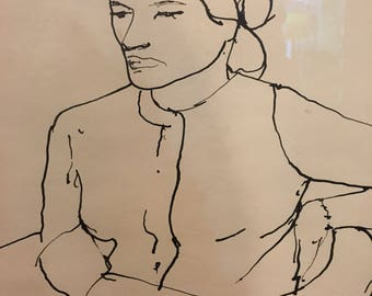 Original India Ink on Paper by Richard Diebenkorn