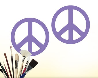 Hippie Room Decor, Peace Signs Wall Decals, Peace Sign Decor, Hippie Decor, Peace Signs Wall Art, Vinyl Wall Decals (Shown: Lavender Violet)