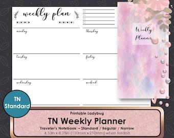 Printable Weekly Planner,Weekly Travelers Notebook,Weekly Inserts,Weekly Planner,Weekly Journal,Bullet Journal,Travelers Notebook Inserts,TN