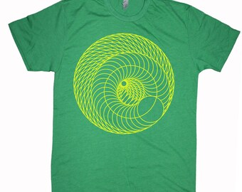Men's INFINITE SPIRAL Geometric Mod Shirt Sacred Geometry T-Shirt