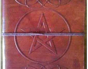Pentagram leather blank book journal w/cord