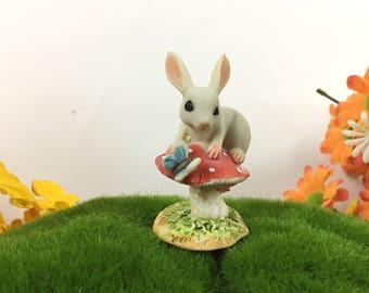 Fairy Gardens Bunny On A Toadstool