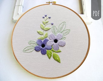 PDF Hand Embroidery Pattern | Violet Flower Botanical
