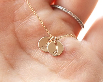Teeny Tiny Initial Necklace, Gold Filled Necklace, Initial Charm, Personalized Necklace, Hand Stamped, Mother's Necklace, Dainty Necklace