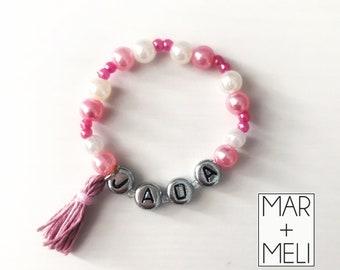 Faux Pearl Tassel Name Bracelet, Infant Bracelet, Custom Bracelet, Toddler Bracelet, Tassel Bracelet