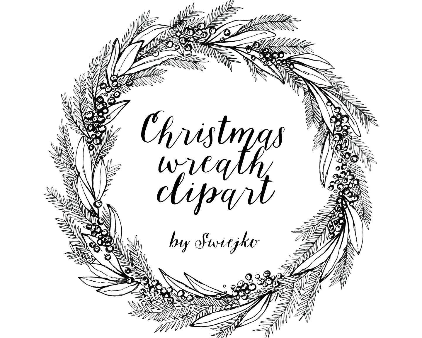 Christmas Wreath Hand Drawn Clipart Holiday Wreat