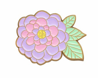 Pastel zinnia retro inspired enamel lapel pin