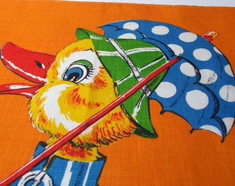 Vintage Kitsch Tea Towel - Cartoon Duck in Galoshes -  70s Psychedelic Tea Towel