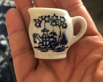 Miniature Vintage Blue & White Creamer Made in Japan
