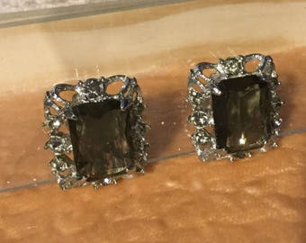 Vintage Sarah Coventry Clip,on Earrings Smoky Black Clear Rhinestones set in Silvertone
