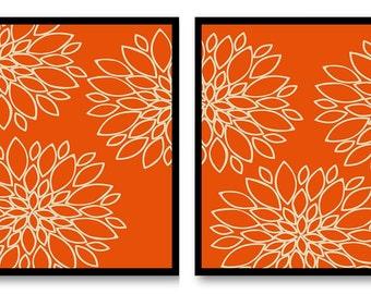 Flower Print Orange Beige Dahlia Flowers Outline Set of 2 Art Print Wall Decor Modern Minimalist Bathroom Bedroom Living room