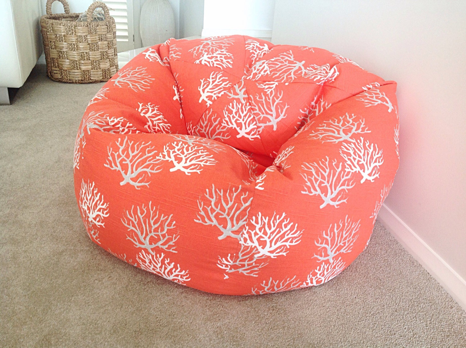 Coral Bean Bag Kids Teenagers Adults Bean Bag Coastal Coral