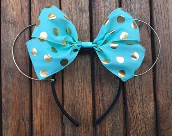 Turquoise and Gold Minnie Ears