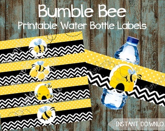 Bumble Bee Water Bottle Labels, Bumble Bee Printable Water Labels, Bumble Bee Birthday Party Decorations, Bee Theme Party Supplies