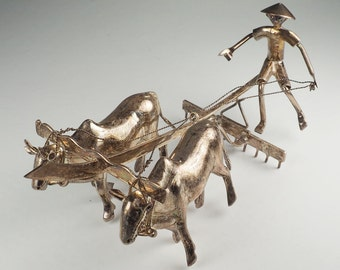 Asian farmer on ox bull plow antique silver figure miniature sculpture