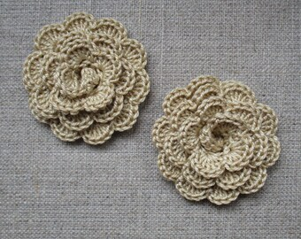 "set of 2 beige flowers crocheted ""pink style"""