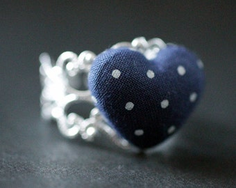 Navy Blue Heart Ring. Polkadot Ring. Fabric Heart Ring. Adjustable Ring in Silver Filigree. Handmade Jewelry.