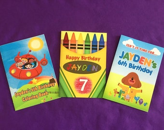 12 Personalized Coloring Books / with Crayons, Party Favors - Little Einsteins, Hey Duggee, Crayons Theme