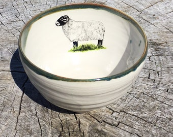 Pottery stoneware  bowl handthrown  sheep design