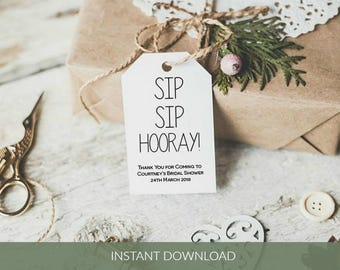 Sip Sip Hooray tag, Printable Bridal Shower Favor TagTemplate, Editable gift tags, Instant Download PDF, WLP425
