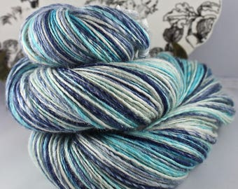 Handspun Yarn Gently Thick and Thin Fine Sport Single Blue Faced Leicester and Tussah Silk Blue Moon Fiber Arts 'Jack Frost'