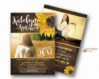 Rustic Graduation Invitation Announcement for her | Printed or Printable Graduation Invitations | Sunflower Graduation invite with pictures