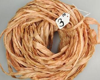 Silk Sari Ribbon, Sari silk ribbon,  Peach Blush sari ribbon, Peach sari ribbon, Hand dyed ribbon, jewelry supply, weaving supply