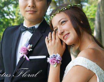 Flower corsage etsy bridesmaid wrist corsage wrist corsage blush corsage purple corsage rose corsage bridesmaid corsage silk flower corsage mightylinksfo