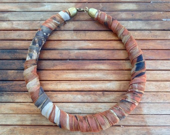 Fabric necklace Fabric jewelry  Textile necklace  Natural colors cotton  print  FREE SHIPPING