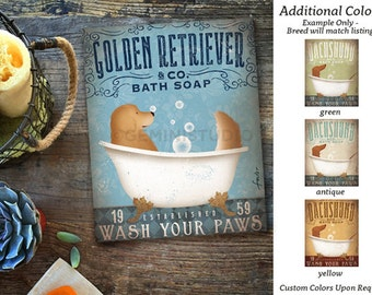Golden Retriever dog bath soap Company artwork on gallery wrapped canvas OR canvas panle by Stephen Fowler