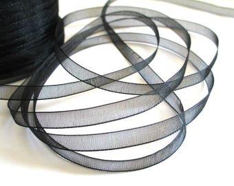 15 m 6mm black organza Ribbon