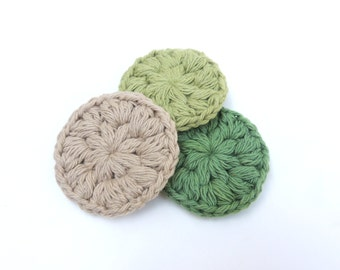 Face Scrubbies, Cotton Scrubbies, Crochet, Green Face Scrubbies, Eco Face Scrubbies, Reusable Face scrubbies, Set , Make Up Remover Pads